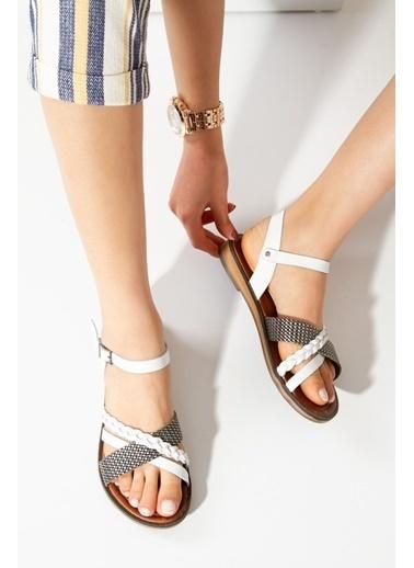 Derithy Arıadne Hakıkı Derı Sandalet-Sıyah-Rms7007 Beyaz